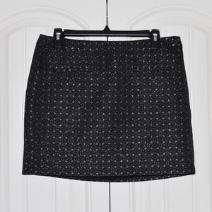 GAP Black & Silver Embroidered Mini Skirt sz6 NWT